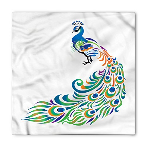 Peacock Bandana by Lunarable, Abstract Peacock Tail Design with Swirls and Oval Shapes South Asian Native Bird, Printed Unisex Bandana Head and Neck Tie Scarf Headband, 22 X 22 Inches, - Shape Head Asian