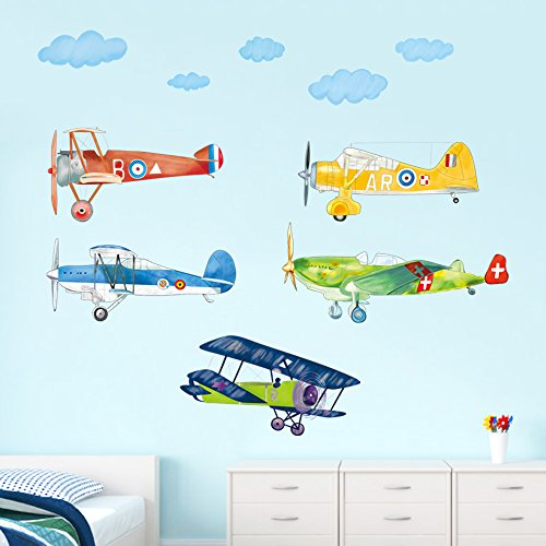 (decalmile Colorful Airplane Wall Decals Boys Kids Room Wall Decor Removable Aircrafts Wall Stickers for Baby Nursery Childrens Bedroom Playroom)