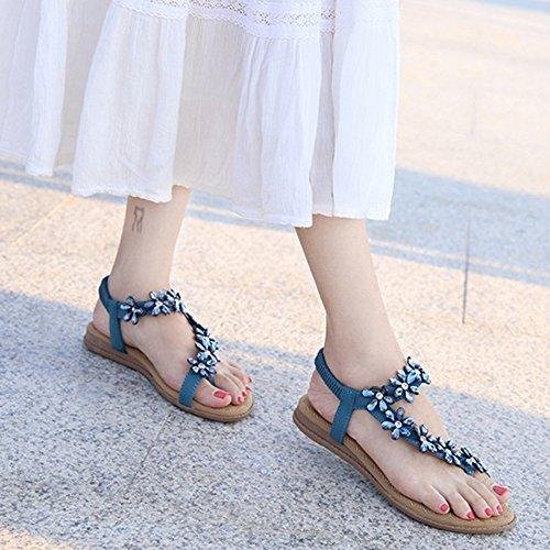 Bohème Des Plates Style Femmes Tongs Chaussures Plage Clip Summer Blue Hope Toe Sandales 16qzEU