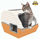 The Ultimate in Cool Cat Toys for Indoor & Outdoor Cats by Kitty Camper- Stylish Cardboard Houses Designed To Entertain - Use as a Scratcher lounge, Toy or Bed! Kittens Love it too! - Bonus eBook