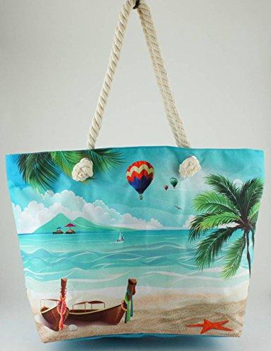 Bedruckte Strand/Tasche 51cm–'Tropischer Strand'