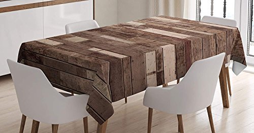 wanxinfu Wooden Rectangular Tablecloth Wall Floor Textured Planks Panels Picture Art Print Grain Cottage Lodge Hardwood Pattern Table Cover for Kitchen Dinning Tabletop Decoration 60x84in