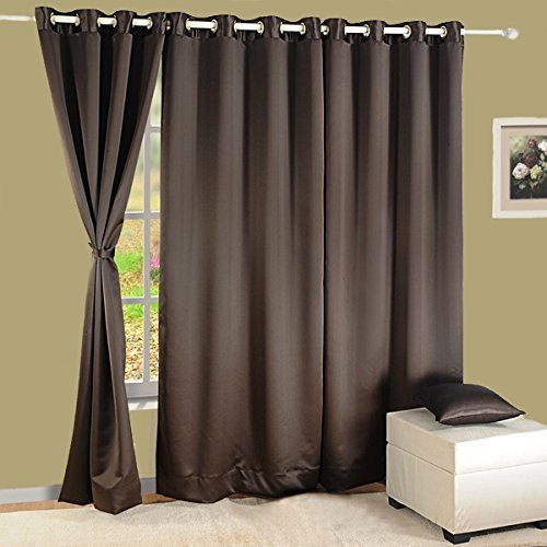 Cheap HOMEC Elegant Blackout Multi Eyelet Door Curtain Set Of 2-48 X 84 Inch In Chocolate