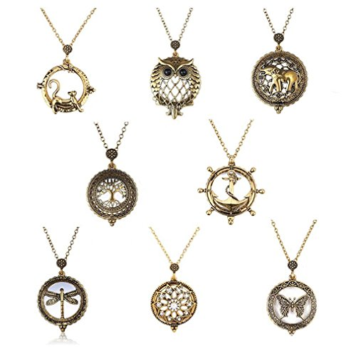 Glass Women's Chain Antique Design Long Cats Mayshow Pendant Necklace Magnifying WIHdaHq