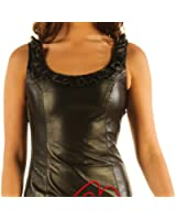 Leatherotics Statement Sexy Black Leather Sleeveless Mini Dress Top MD79