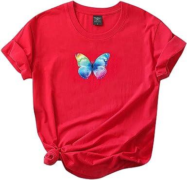 Camiseta Mujer, Algodón Manga Corta Mariposa impresión Verano Moda Blusas Suelto Camisa Basic Cuello Redondo Camiseta Tops Casual Fiesta T-Shirt ...