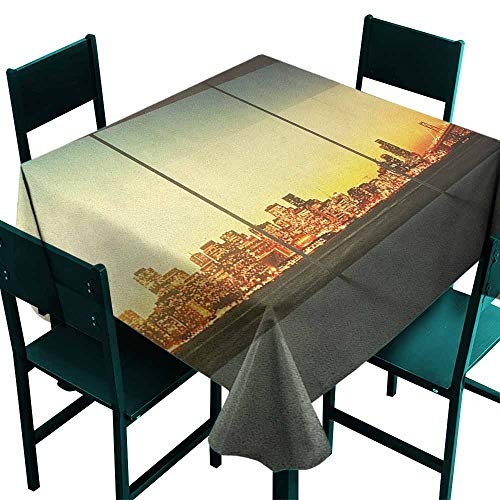 Waterproof Table Cover Modern Empty Office at Sunset with View to Skyline Architecture Downtown City Art for Events Party Restaurant Dining Table Cover 70x70 Inch Orange Grey Green]()