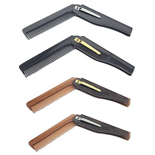 Suiez 4Pack Folding Horn Comb Professional Durable Straight Edge Barber Razor Manual Folding Beard Shavette for Men in Stylish
