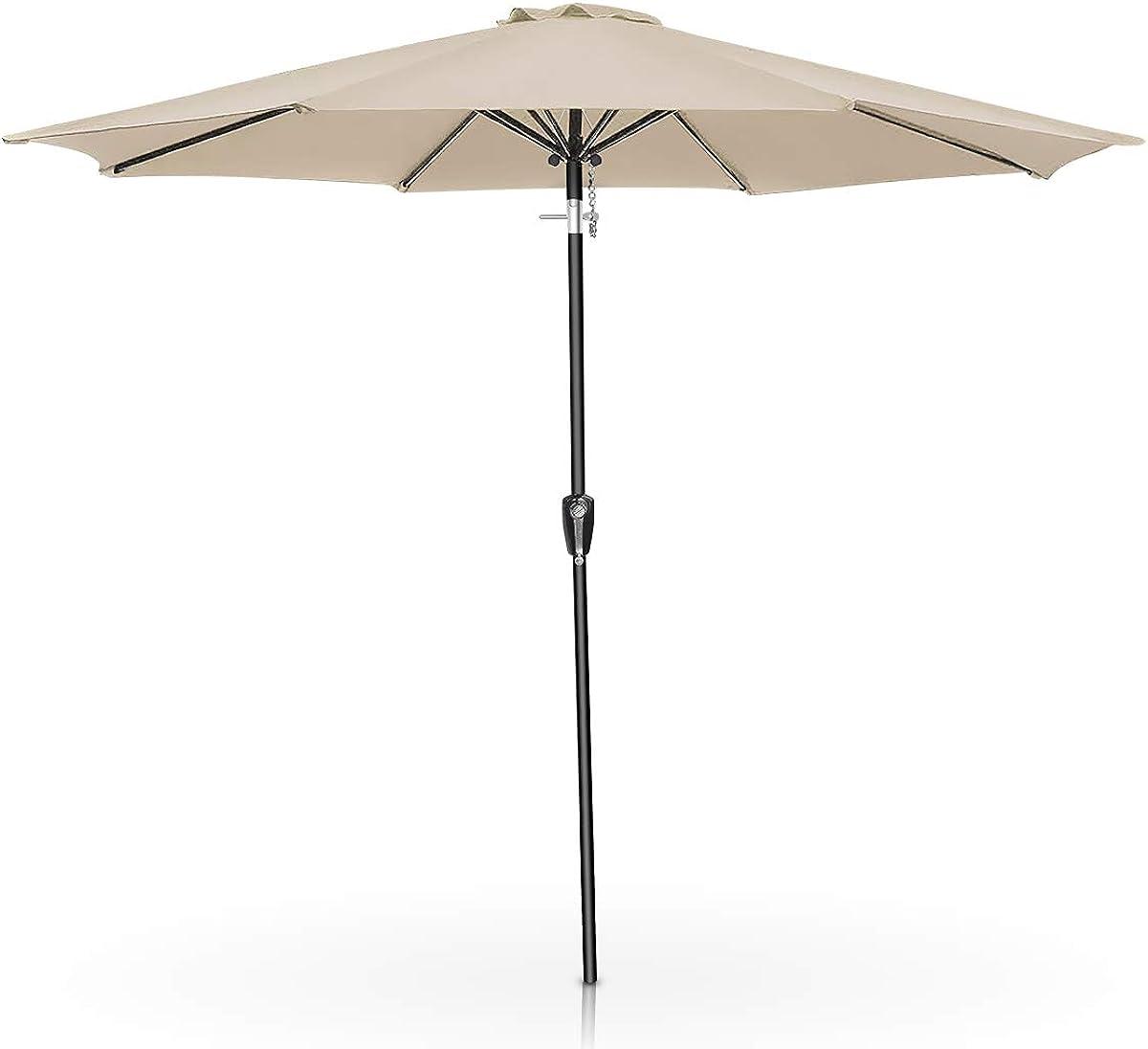 FRUITEAM 9Ft Patio Umbrella Outdoor Table Umbrella 8 Sturdy Ribs Large Garden Umbrella Heavy Duty