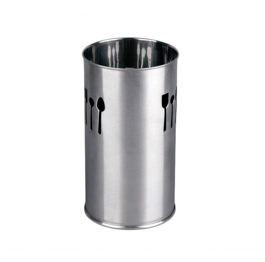 DEL - Contenitore Portaposate/Scolaposate in Acciaio INOX - Cilindrico - Argento