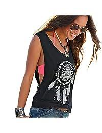 Kinghard Sexy Women Dreamcatcher Printed Sleeveless Tops Crop Tank Vest Shirt