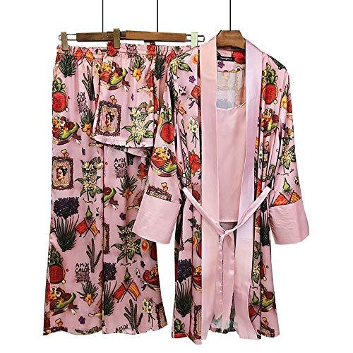 Muebles Seda Lujo Pijamas Para Cuatro Estampado El Piezas Pink Mujer Primavera De Hogar Mmllse HnvqYI1aI