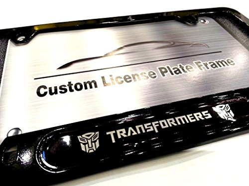Car Accessory Warehouse Transformers Autobots Logo Emblem Modern Gloss Black Finish License Plate Frame Automotive Grade 100% Stainless Steel Durable Construction, Fits All Makes and Models