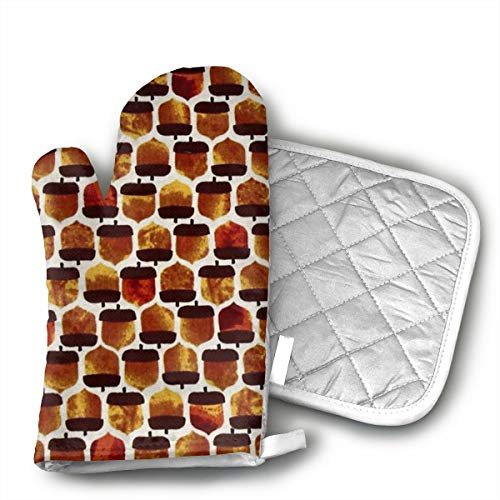 Pinecone Oven Mitt - Pine Cones Oven Mitts and Pot Holders Set with Polyester Cotton Non-Slip Grip, Heat Resistant, Oven Gloves for BBQ Cooking Baking, Grilling