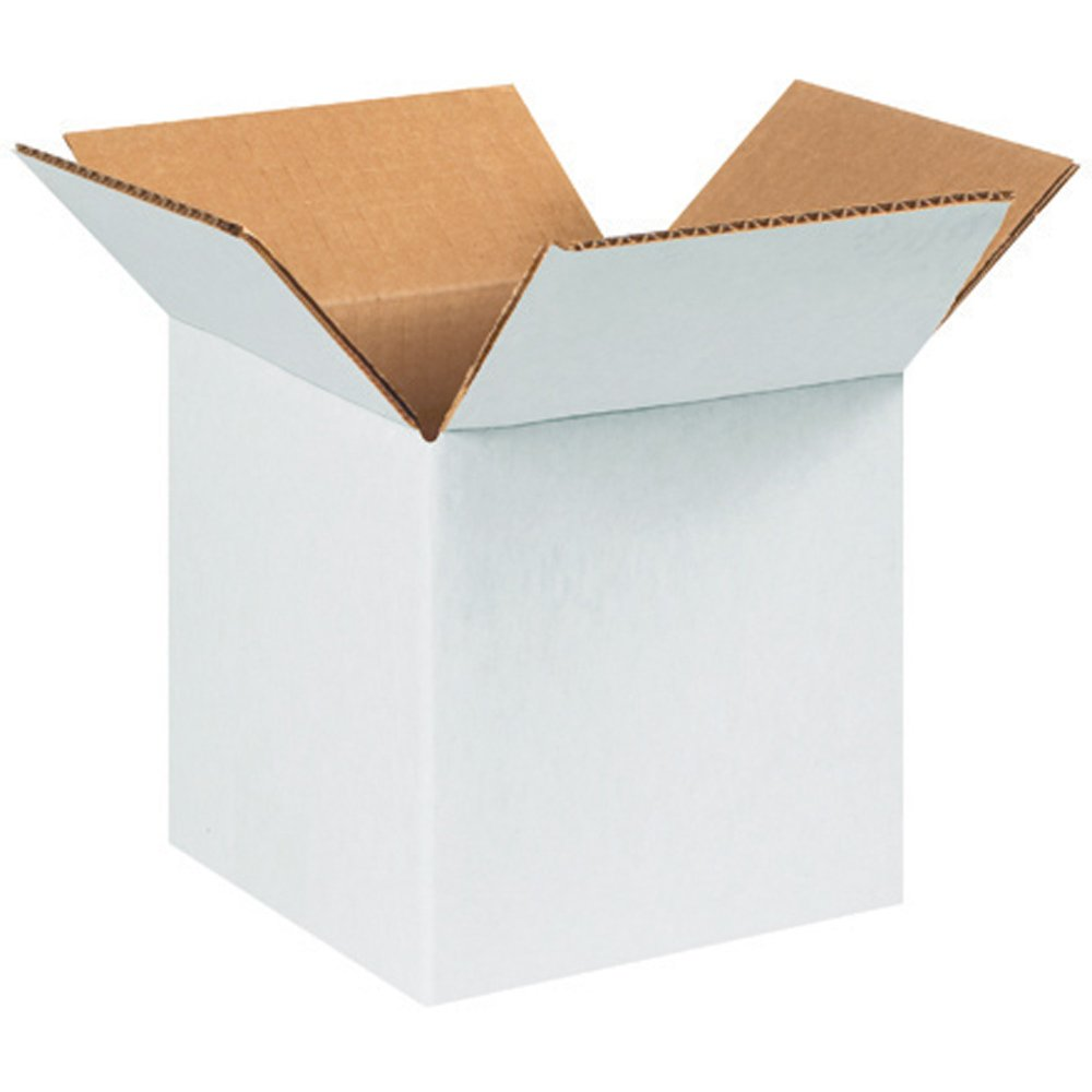 RetailSource BX080808WB900 White Corrugated Boxes, 8'' x 8'' x 8'', Brown (Pack of 900)