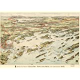 1906 Map Birds eye view of Casco Bay, Portland, Maine, and surroundings.