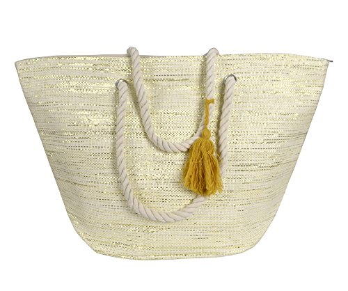Peach Couture Gold Weave Large Travel Tote Hobo Handbags Shoulder Bags (Cream)