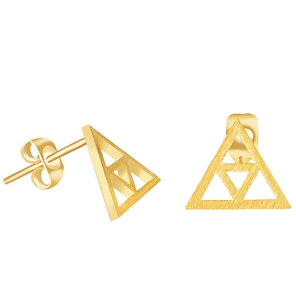 fonk_CA:: Silver Brincos Geometric Jewelry Stainless Steel Vintage Bijoux Dainty TriForce - Legend of Zelda Stud Earrings fonk store_CA 9KLXHTQ129