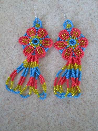 glass seed beads flower turquoise blue salmon pink floral hand beaded dangle earrings Native American style southwest huichol mexican folk art 3D style design beadwork