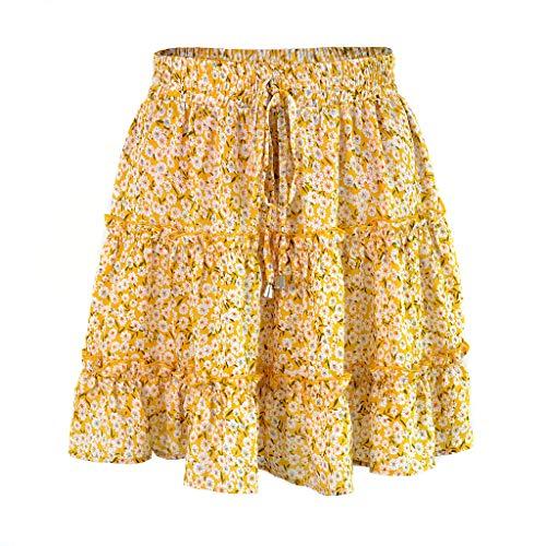 2019 Fashion Women Summer Casual High Waist Ruffled Floral Print Beach Short Skirt (Gold, M)