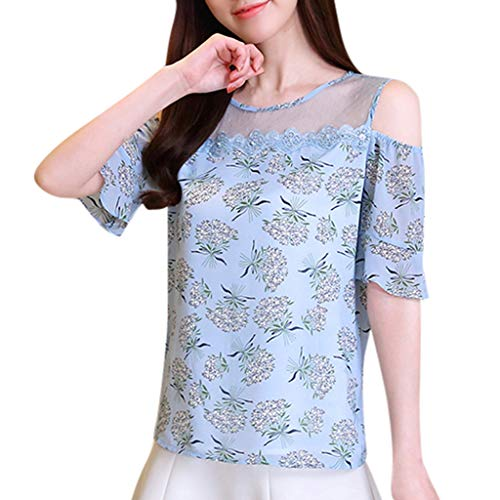 (GHrcvdhw Women's Chiffon Beautiful Charming Off Shoulder Lace Panel Shirt Short Sleeve Floral Print Blouses Top Blue)