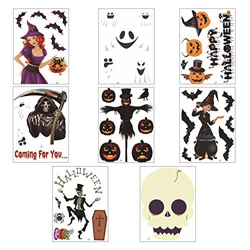 Maplelon Assorted Halloween Static Cling Stickers | Electrostatic Decoration Decal for Glass, Window, Mirror, Party Favors - 8 Pieces