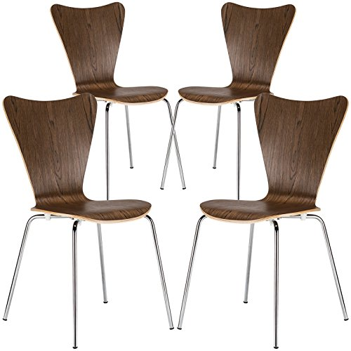 Poly and Bark Elgin Wooden Dining Side Chair with Chrome Legs, Stackable, 250 lbs Capacity, Walnut Set of 4