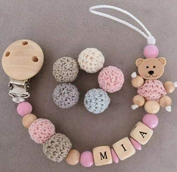 Schnullerkette mit Namen ★ Teddy ★ Baby ★Mädchen★ Geschenk ★ Geburt Holz Taufe