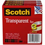Scotch Transparent Tape, 1 x 2592 Inches, 3 Rolls, Boxed (600-72-3PK)