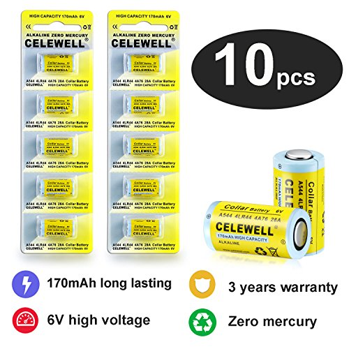 4LR44 6V Battery Dog Collar/Camera 170mAh 3 Years Warranty Alkaline Batteries K28A/A28PX/4A76/A544/L1325/V34PX/28A 10 Pack CELEWELL Brand