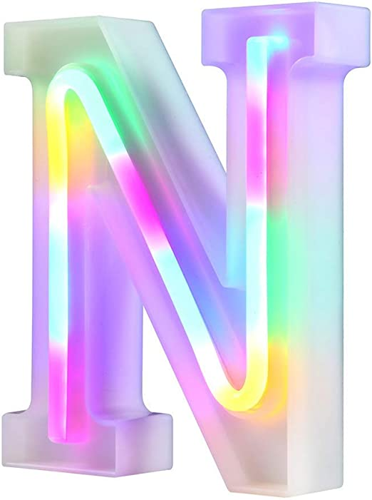 WARMTHOU Neon Letter Lights 26 Alphabet Letter Bar Sign Letter Signs for Wedding Christmas Birthday Partty Supplies,USB/Battery Powered Light Up Letters for Home Decoration-Colourful N