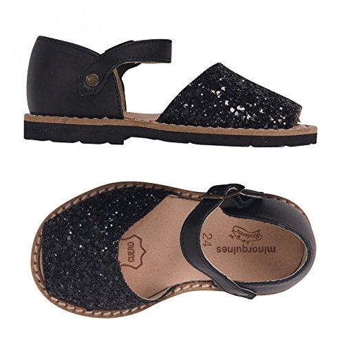 Sandales enfant à paillettes noire Minorquines - Noir - 21