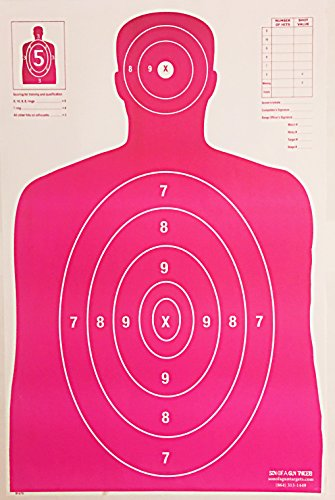 Son of A Gun Paper Shooting Targets, HIGH Shot Placement Visibility, Life Size B-27 Silhouettes, Bright Pink Package, 100 Total Count, GET More Bang for Your Buck! Best Prices Anywhere!