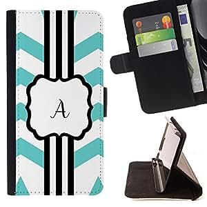 """For Motorola Moto E ( 1st Generation ),S-type Letra inicial del alfabeto de Chevron azul"""" - Dibujo PU billetera de cuero Funda Case Caso de la piel de la bolsa protectora"""