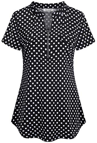 Ninedaily Polka Dot Shirts for Women,Short Sleeve Simple Pattern Colorblock Knitting Swing Relaxed Fit Vintage A Line Fashion Stretchy Shirts Form Fitting Petite Regular Slim Fitted Size 4 6