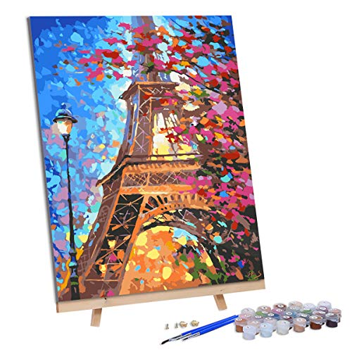 VIGEIYA DIY Paint by Numbers for Adults Include Framed Canvas and Wooden Easel with Brushes and Acrylic Pigment 15.7x19.6inch (Eiffel Tower)