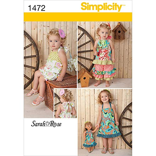 (Simplicity 1472 18'' Doll and Toddler's Matching Romper, Dress, Top, and Pants Sewing Pattern, Sizes 1/2-4)
