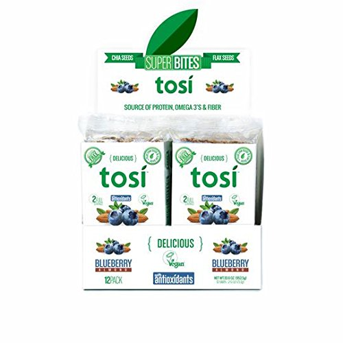 Tosi SuperBites Blueberry Almond, 2.6 oz Bar, 12 Count Pack/Vegan, Plant-Based, Gluten Free, Omega 3's and Fiber by Tosi Health (Image #1)