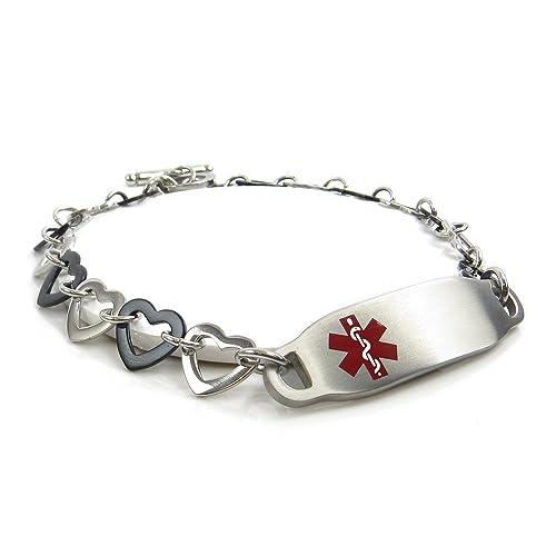 Amazon.com: myiddr – Medical ID pulsera acero, diseño de ...