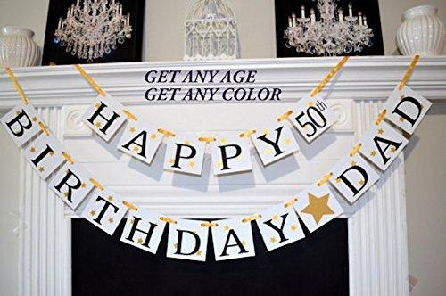 amazon com happy birthday dad banner 50th birthday banner gold
