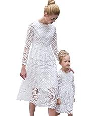 Minetom Los Niños De Encaje Vestido Madre E Hija Padres E Hijos Equipo A-La Falda Manga Larga Cuello Redondo Mini Dress Verano Elegante Mujer