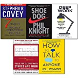 Deep Work,Shoe Dog,7 Habits of Highly Effective People,Crucial Conversations,How to Talk to Anyone 5 Books Collection Set