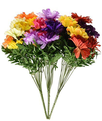 Zinnia Silk (Set of 3 Silk Zinnia Bushes - 9713283)
