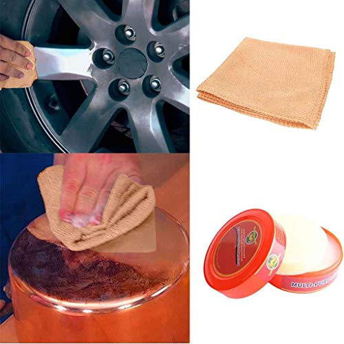 Natural Cleaner Paste Multi-Purpose Magic Waterless Cleaning Wax Repair Tool Polisher +1PC Multi-Cleaning Rag Combination for Glass/Leather/Furniture/Metal/Floor (Ship from USA) (As Shown)