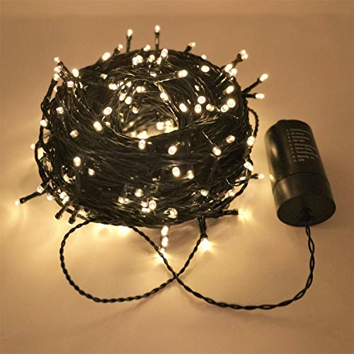 FuChsun Christmas String Lights 300 LED Warm White 98.1ft Green Strand Battery Operated Smart Timer Waterproof Indoor Outdoor Décor for Tree Garden Patio Gazebo Pergola - Gazebo Party Green Garden