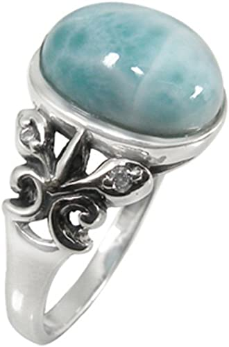 Blue Opal Ring Sterling Silver Dainty Victorian Ring Size 7.5 5 for Women and Girls Unique Handmade Boho Jewelry
