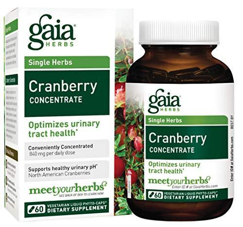 - Gaia Herbs Cranberry Concentrate, Vegan Liquid Capsules, 60 Count - Supports Urinary Tract (UT) Health, Cranberry Pills from Organic Cranberry Juice