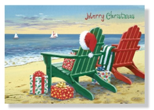 Designer Greetings Red Farm Studio - Boxed Christmas Cards Nautical/Coastal Design; Festive Adirondack Chairs on Beach