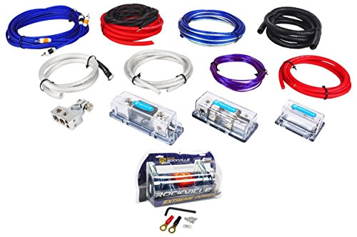 Rockville RDA4+8K Dual 4/8 AWG Multi-Amp True Gauge Wire Kit+4 Farad ()