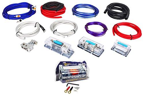 Rockville RDA4+8K Dual 4/8 AWG Multi-Amp True Gauge Wire Kit+4 Farad Capacitor